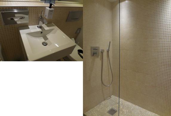 全く無駄のない 宿泊ホテルの洗面所とシャワー室
